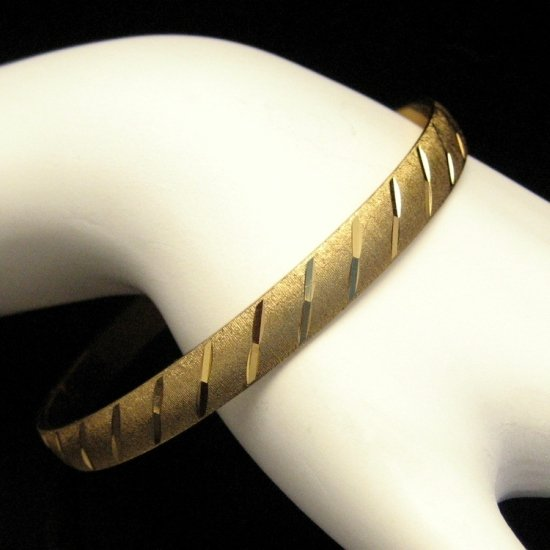 MONET Vintage Bangle Bracelet Matte Goldtone Shiny Etched Stripes