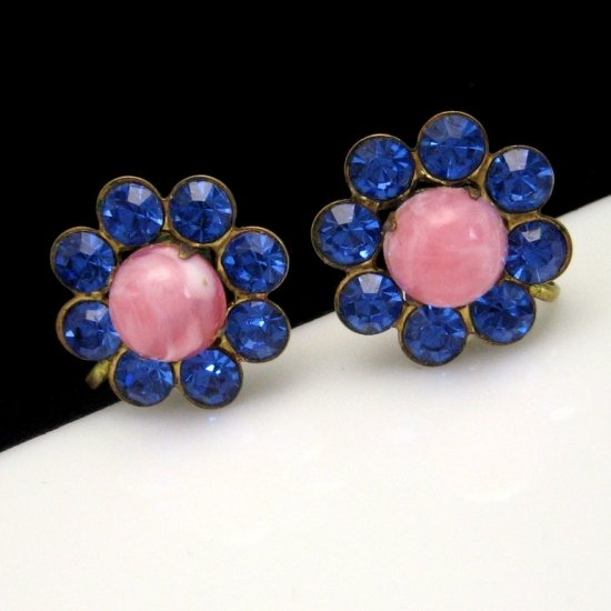 Vintage Earrings Pink Swirl Acrylic Stones Bright Blue Rhinestones Flowers