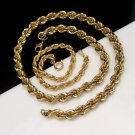 MONET Vintage Necklace Thick Goldtone Rope Bracelet Married Set