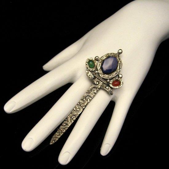 Vintage Sword Brooch Pin 3 Inch Silvertone Etched Celtic Design Glass Gem Stones