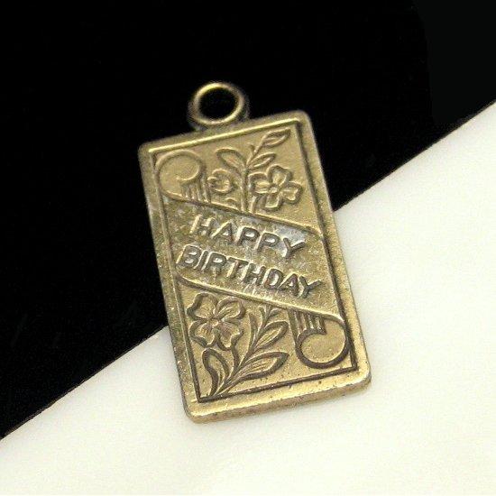 WELLS STERLING Silver Vermeil Vintage Happy Birthday Card Charm