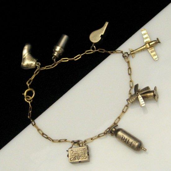 Vintage 1940's Era Charm Bracelet Vermeil Oblong Links Moving Charms