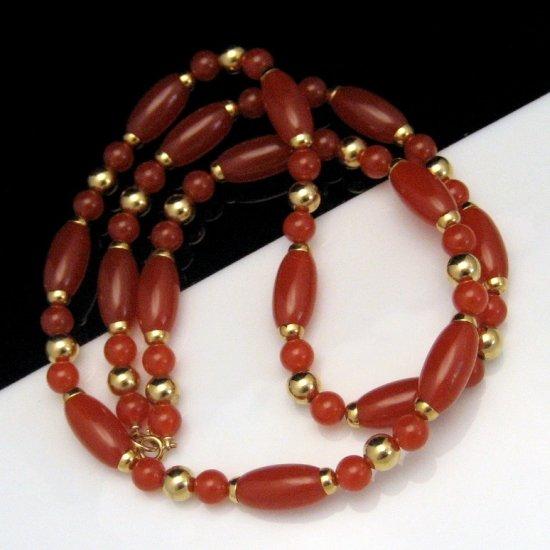 Vintage Necklace Long Chunky Red Orange Acrylic Beads Goldtone Beads