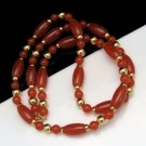 Vintage Necklace Long Chunky Red Orange Acrylic Beads Goldtone Beads