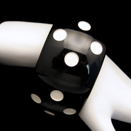 Vintage Wide 8 inch Lucite Bangle Bracelet Black with White Polka Dots