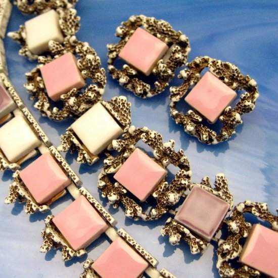Vintage Necklace Bracelet Earrings Set Pastel Pink White Purple Tiles