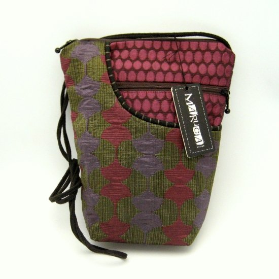 Maruca City Girl Handbag Purse Bag Ginko Plum Fabric Green Purple Pink