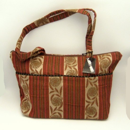 Maruca O'Jackie Handbag Purse Bag Ornamental Orange Brown Rust Fabric