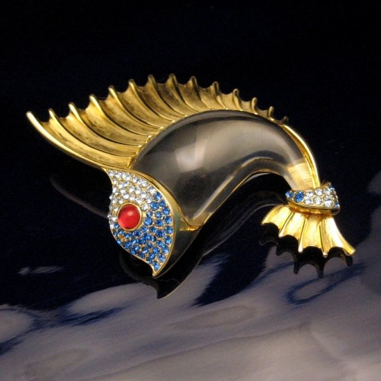 TRIFARI Bel Geddes Fish Brooch Pin Lucite Jelly Belly Rhinestones