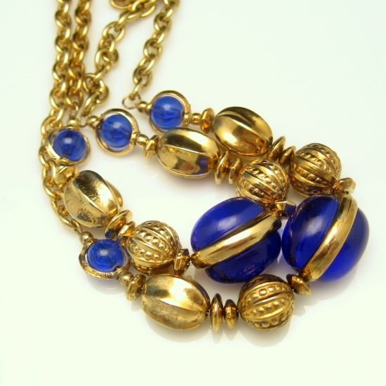Vintage Chunky Long Chain Necklace Blue Jelly Lucite Beads