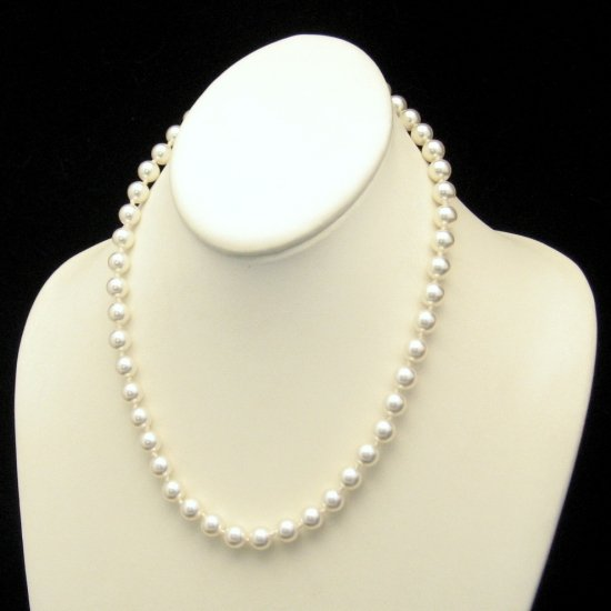 Vintage Lovely Knotted Glass Faux Pearls Necklace