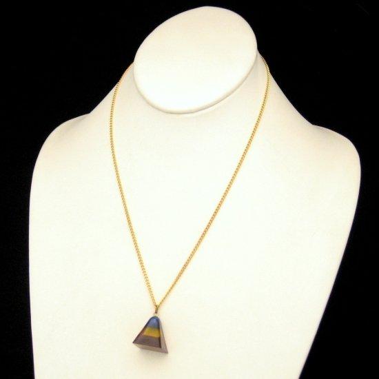 Vintage Lucite Red Blue Rainbow Pyramid Prism Pendant Necklace