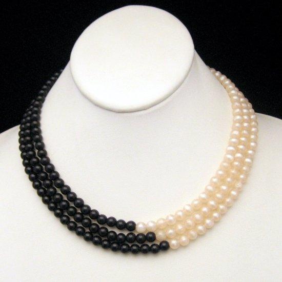 Vintage MONET 3 Strands Black White Faux Pearls Necklace