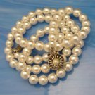 Vintage SARAH COVENTRY Faux Pearls Necklace 25in Fancy Clasp