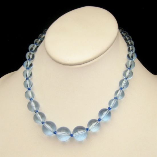 Vintage Chunky Necklace Pale Blue Lucite Graduated Beads