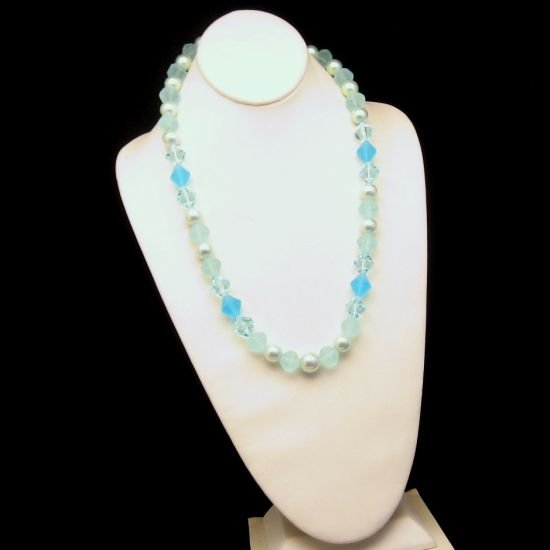 Vintage Aqua Teal Blue Lucite Faux Crystal Beads Chunky Necklace