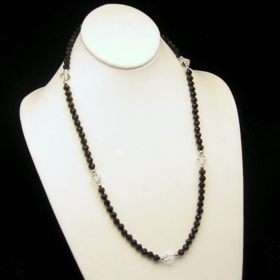 Vintage Trifari 1970s Black Beads Crystals Long Necklace