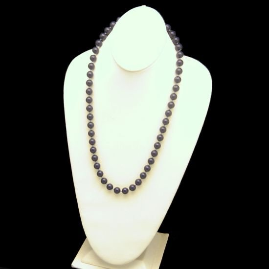 Vintage Faux Lapis Dark Blue Acrylic Beads Necklace 24 inches
