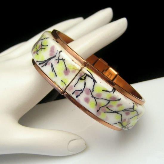 RENOIR MATISSE Vintage Cuff Bangle Bracelet Copper Enamel