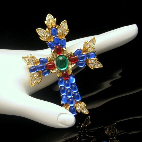 TRIFARI Large Cross Brooch Pin Pendant Blue Red Green Glass Stones, Dated