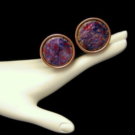 Vintage MATISSE RENOIR Purple Red Black Enamel Clip Earrings