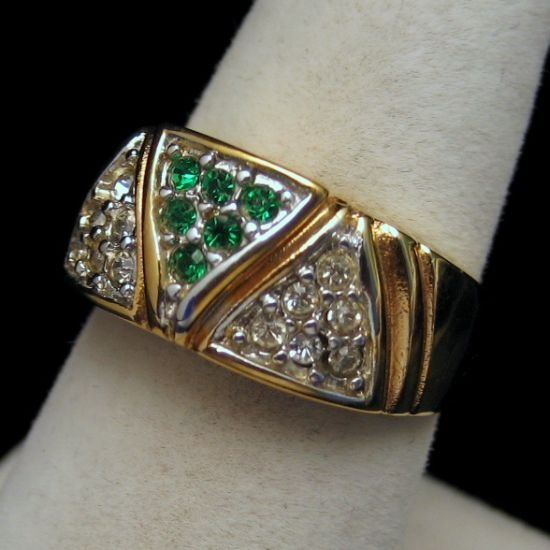 Vintage UNISEX Gold Plated Wide Band Green Rhinestones Pinky Ring Unique Size 6