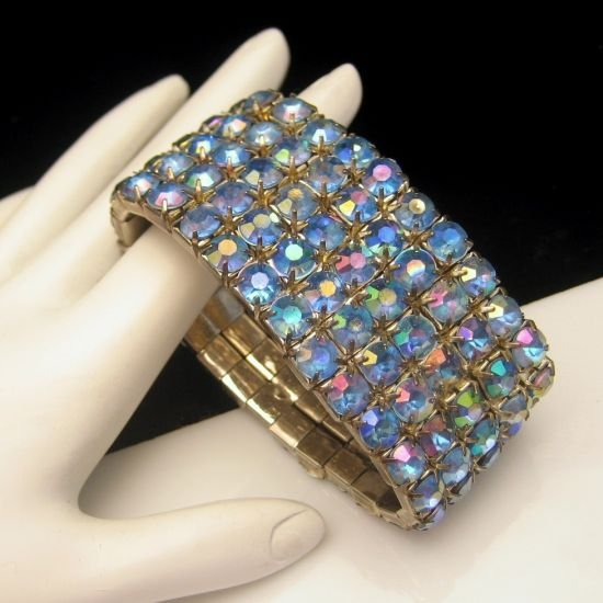 Classy Vintage Wide Bracelet 5 Rows Blue Aurora Borealis AB Rhinestones