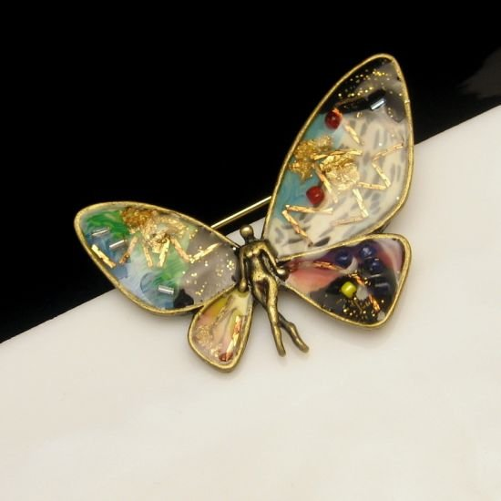 Vintage Nude FAIRY Brooch Pin Colored Confetti Butterfly Wings