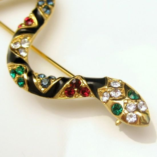 Large Vintage Black Enamel Red Blue Green Rhinestones Snake Brooch Pin