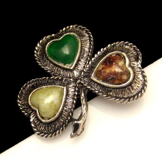 Vintage Faux Agate Art Glass Hearts Clover Brooch Pin