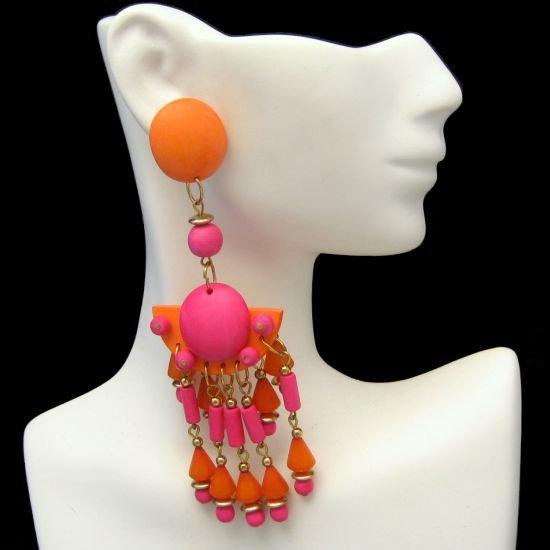 Huge Colorful Vintage Orange Pink Wood Beads Dangle Post Earrings