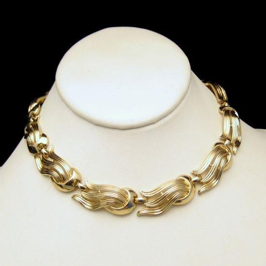 TRIFARI Vintage Large Open Goldtone Swirls Chunky Necklace