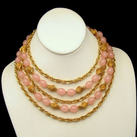 CROWN TRIFARI 5 Multi Strand Necklace Pretty Pink Beads Chains