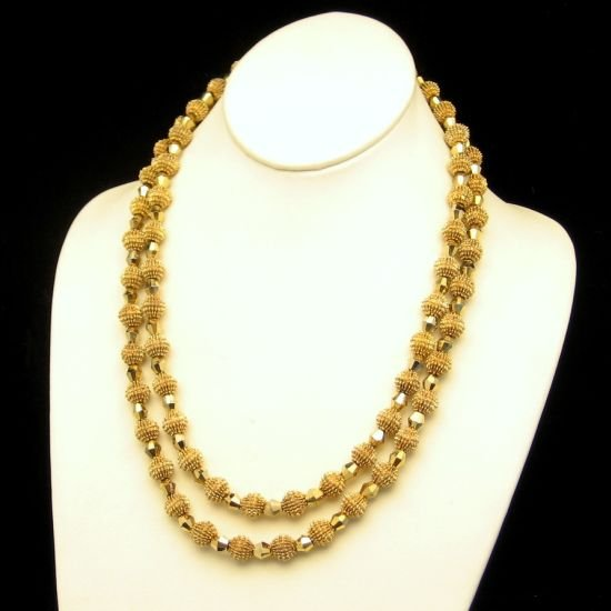 CROWN TRIFARI Electra 2 Strand 10mm Gold Plated Aurum Crystal Necklace