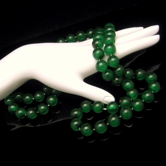 Vintage Long 1-2 Multi Strand Necklace Large Chunky Green Lucite Beads