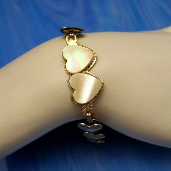 Vintage Bracelet Sweet Heart Love Links Mother of Pearl MOP SMALL