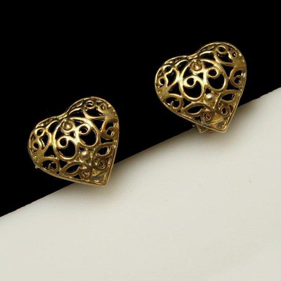 Vintage Filigree Hearts Clip Earrings Pretty Goldtone Love Valentine