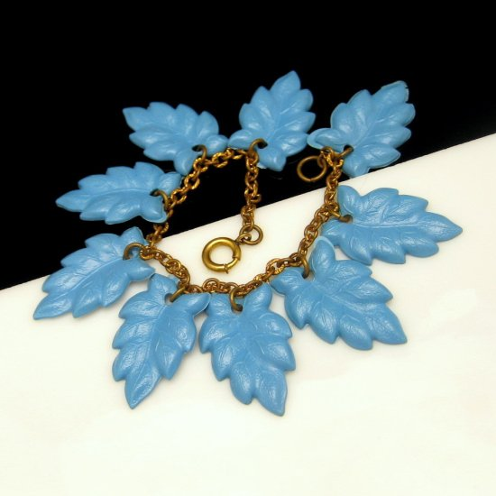 Mid Century Vintage 1950s Charm Bracelet Blue CELLULOID Leaves Large Dangles Statement