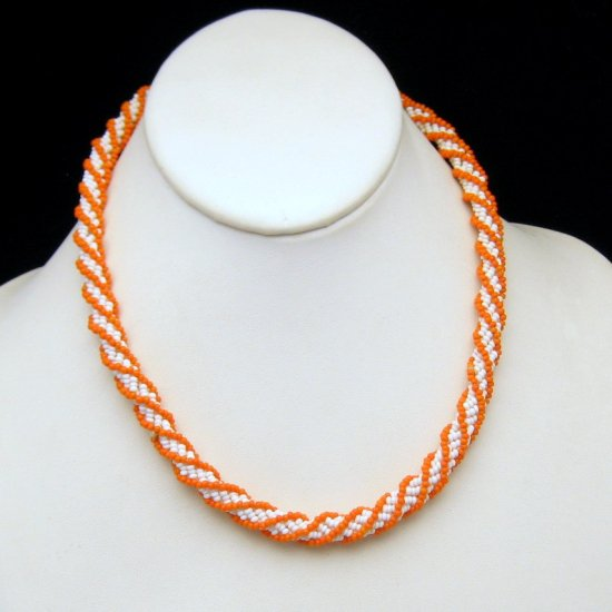 Vintage Torsade Multi Strand Necklace White Coral Glass Seed Beads