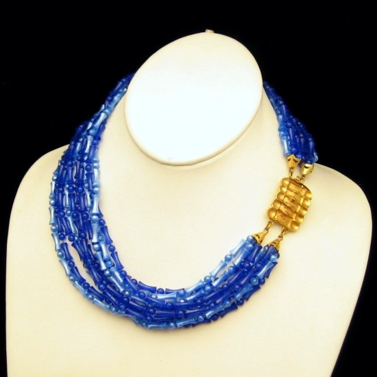 Vintage 8 Multi Strand Chunky Wide Necklace Pretty Blue Acrylic Beads