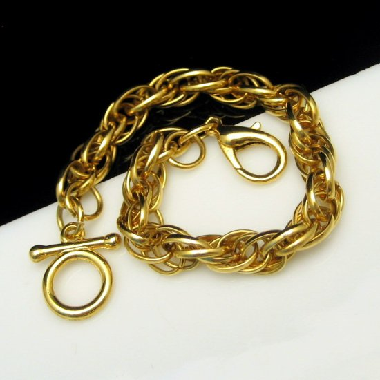 Chunky Vintage Statement Bracelet Thick 8 inch Goldtone Rope Chain Shiny
