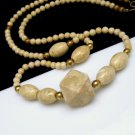 Long Chunky Vintage Statement Necklace Beige Marble Organic Stone Beads