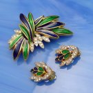 POLCINI Vintage Brooch Pin Earrings Set Blue Green Enamel Rhinestones