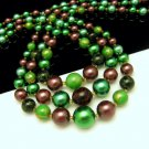 LISNER Vintage Necklace Chunky Green Yellow Confetti Beads 3 Strands