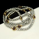 Vintage Long Necklace Gray Faux Pearls Beads Purple Bezel Set Lucite Stones