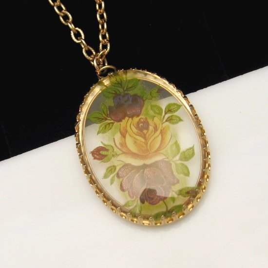 Vintage Necklace Large Oval Reverse Lucite Red Roses Pendant Long Chain