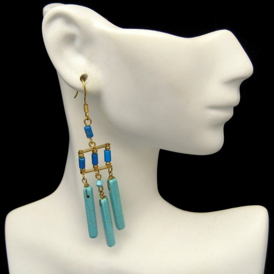 Vintage Earrings Egyptian Inspired Chunky Faux Turquoise Glass Beads Dangles