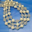 Vintage Necklace 3 Multi Strand Beads Frosted White Crackle Faux Crystal AB