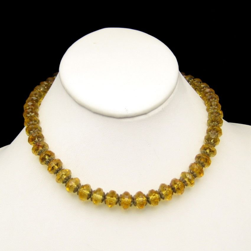 ART DECO Vintage Necklace Czech Crystal Yellow Glass Beads