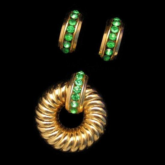 Coro Vintage Brooch Pin Earrings Mid Century Retro 1940s Green Channel Rhinestones Set